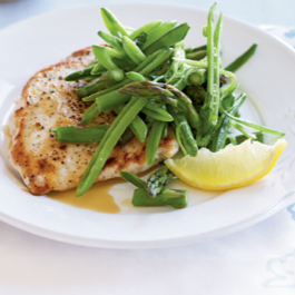 Chicken Scaloppini with Sugar Snap Pea, Asparagus and Lemon