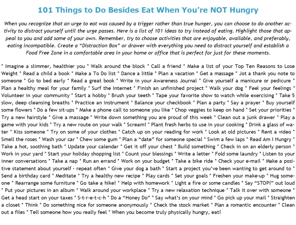 101 Things to Do Besides Eating