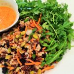 Red Quinoa, Couscous and Arugula Salad