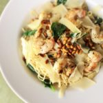 Angel Hair Pasta with Lemon Grilled Shrimp, Spinach and Pinenuts