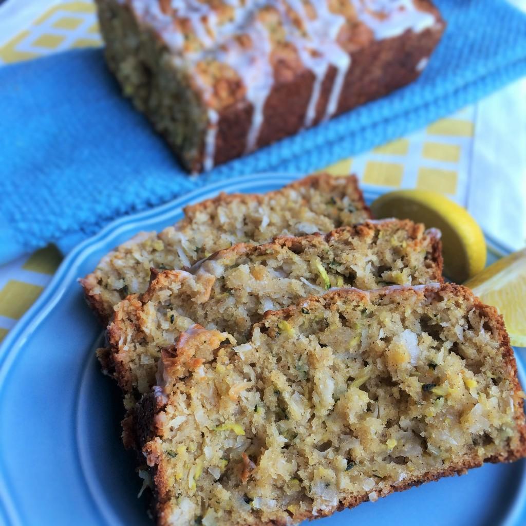 Coconut Zucchini Bread with Lemon Glaze