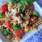 Fresh Vegetables Pasta Salad with Sun-Dried Tomato Pesto