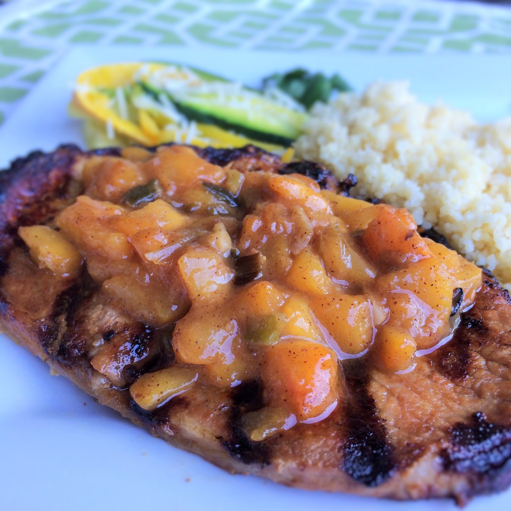 Grilled Pork Chops With Fresh Peach Ginger Sauce