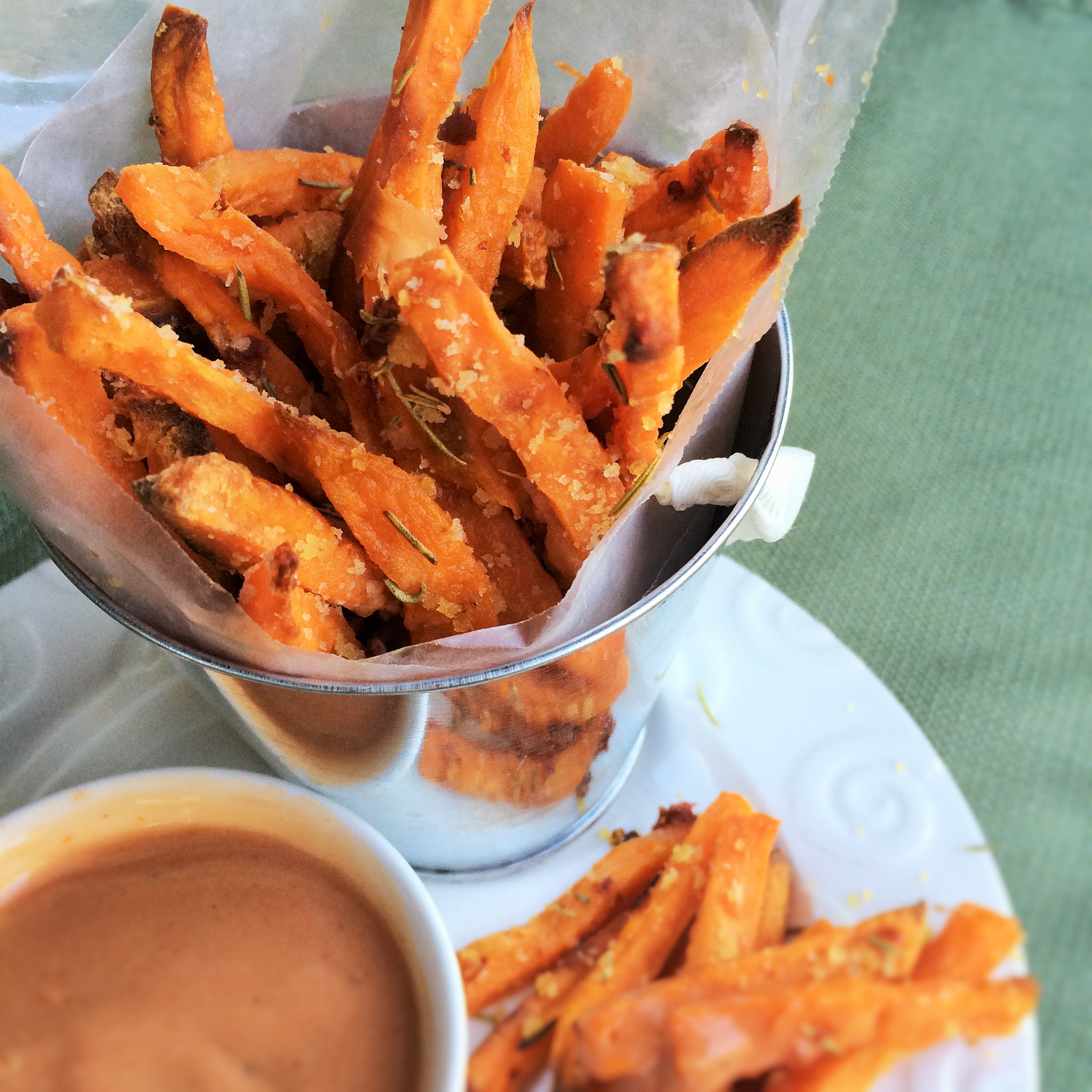 Parmesan Crusted Baked Sweet Potato Fries