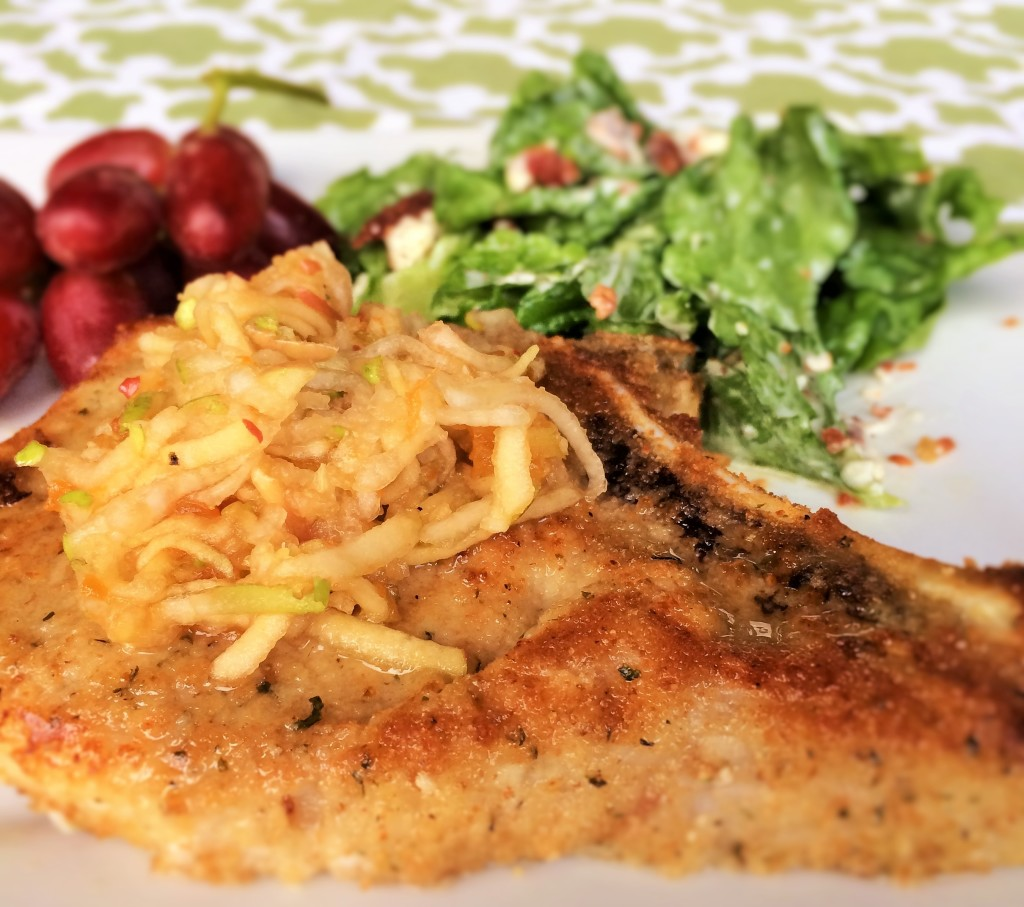 Baked Pork Chops with Sweet Apple Pear Slaw
