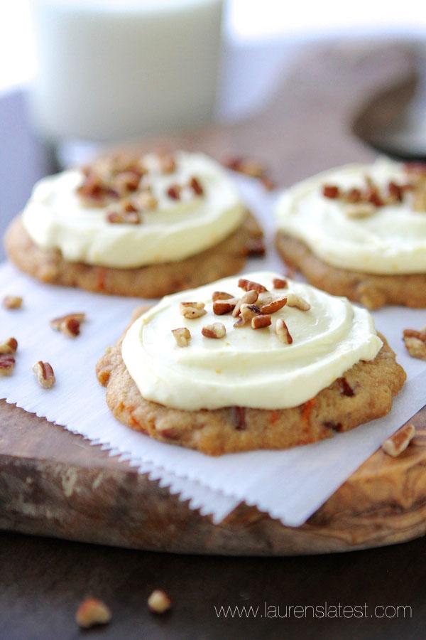 20. Carrot Cake Pecan Cookies with Orange Cream Frosting from Lauren ...