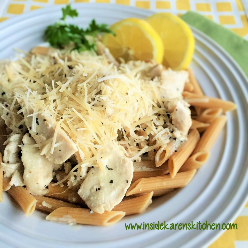 Lemon Basil Chicken over Whole Wheat Penne Pasta 2