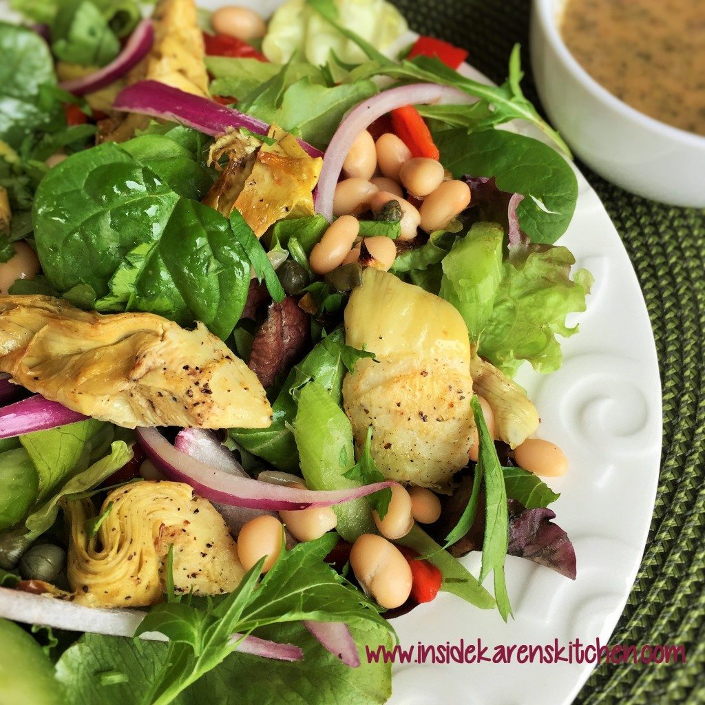 Roasted Artichoke and White Bean Salad with Lemon Basil Vinaigrette