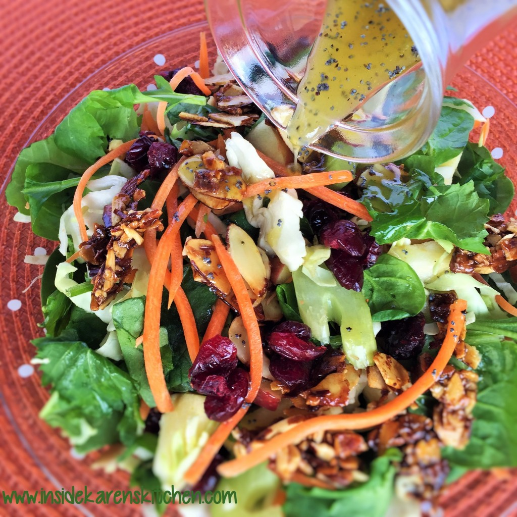 Kale Apple Slaw with Candied Almonds and Sweet Poppyseed Dressing