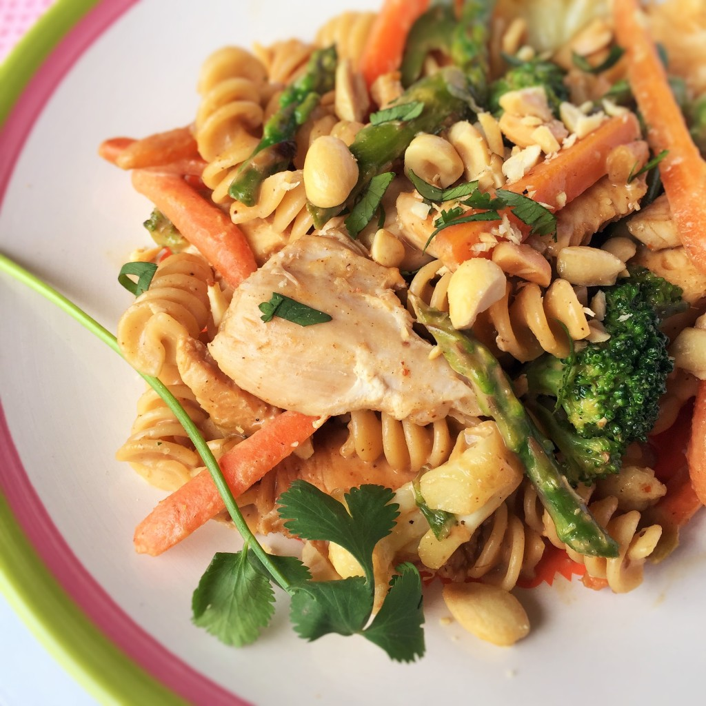 Spring Veggies and Chicken Peannuty Pasta