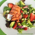 Strawberry Avocado Salad with Honey Glaze Grilled Salmon