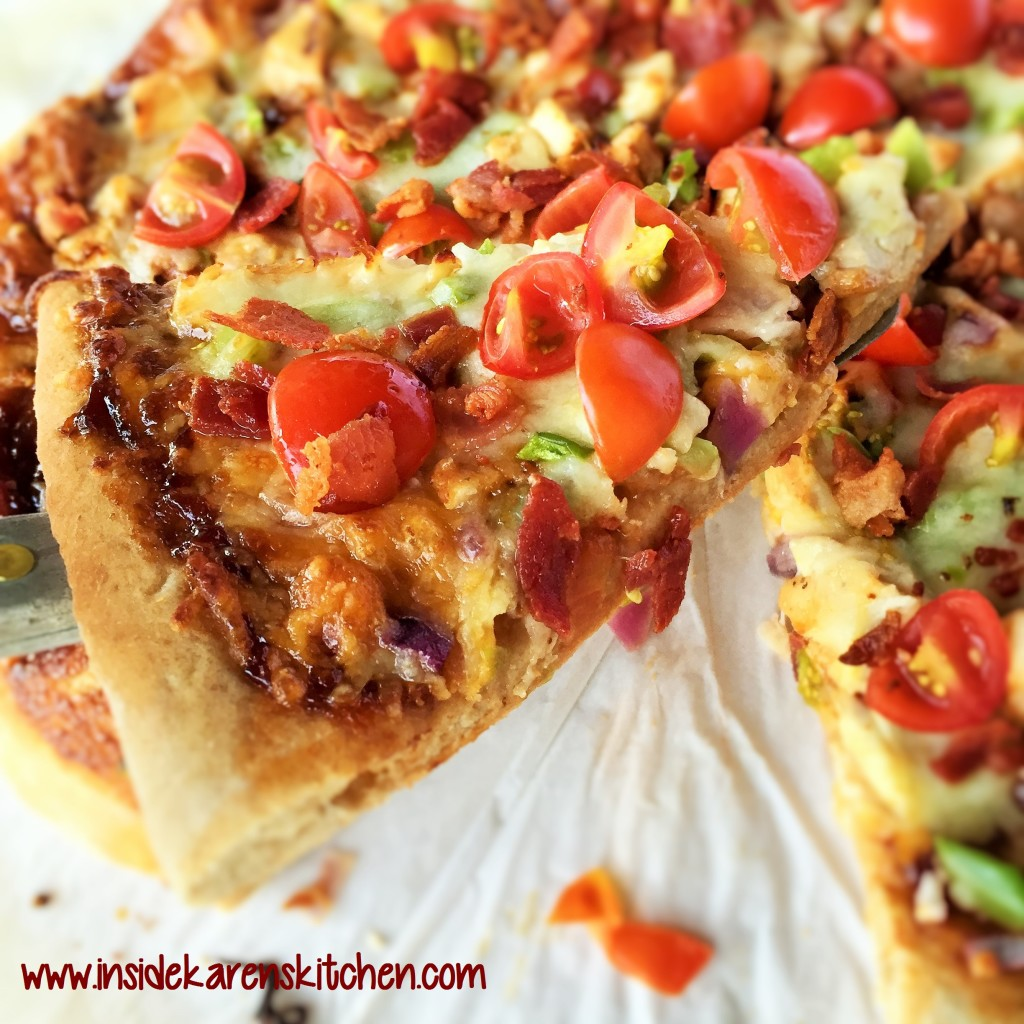BBQ Chicken and Bacon Pizza with Easy Whole Wheat Crust 3