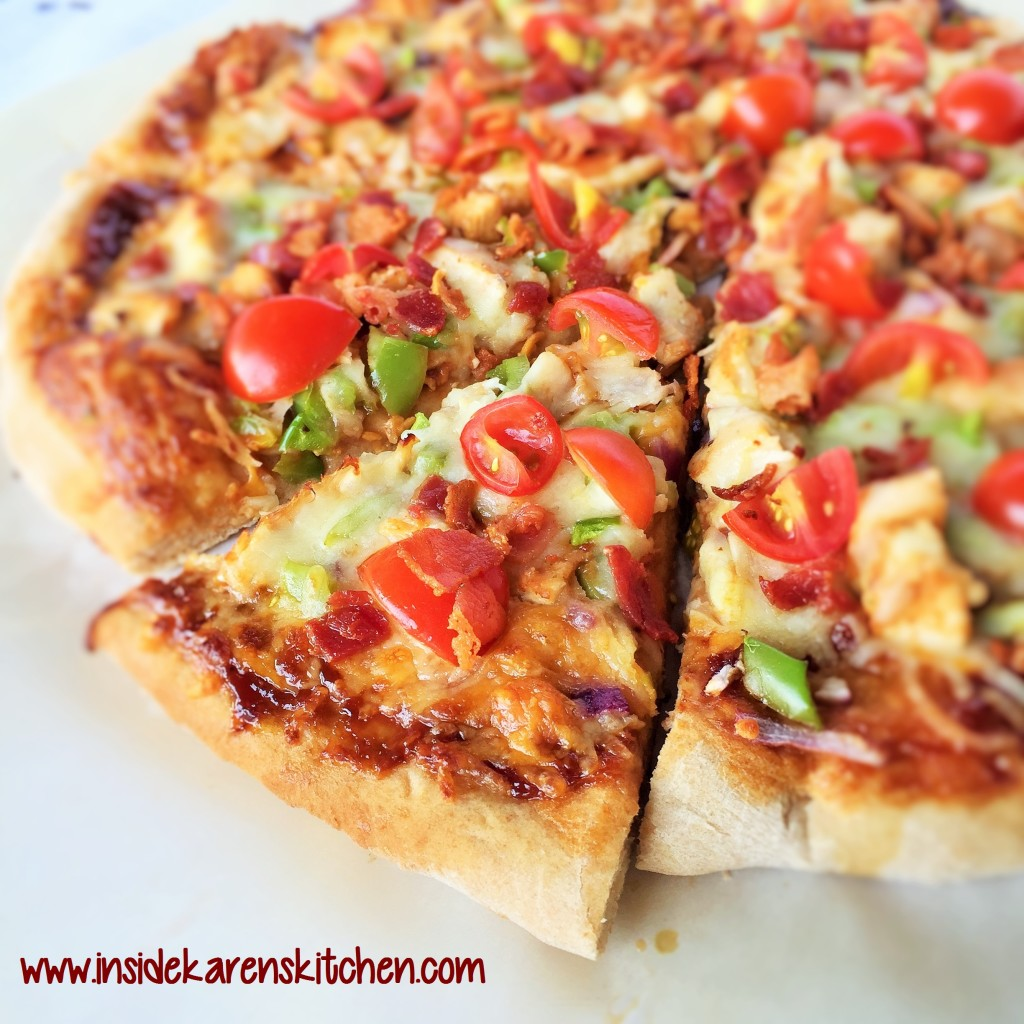 BBQ Chicken and Bacon Pizza with Easy Whole Wheat Crust 4