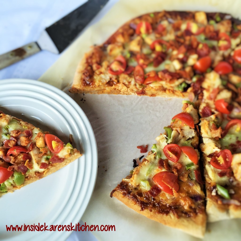 BBQ Chicken and Bacon Pizza with Easy Whole Wheat Crust 5