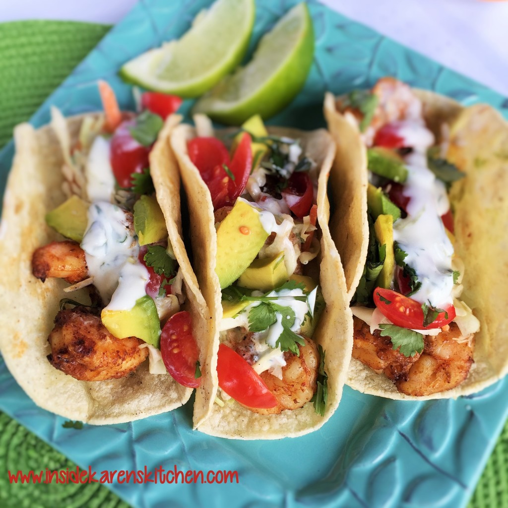 Grilled Shrimp Tacos with Cilantro Lime Coconut Cream Sauce | Inside ...
