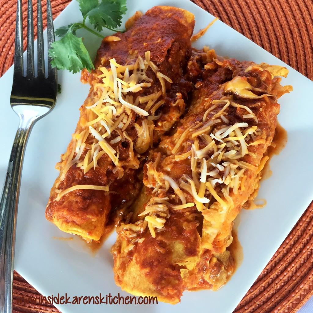 Spicy White and Black Bean Enchiladas