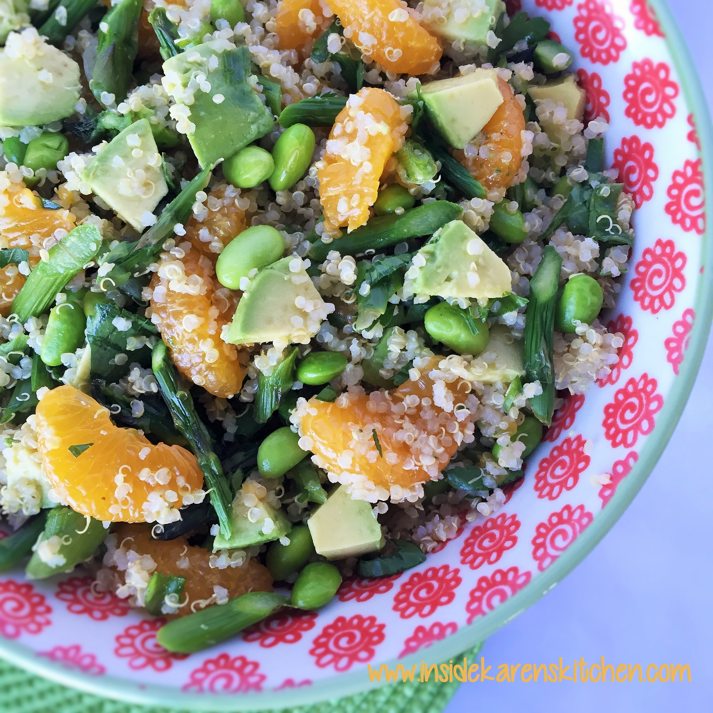 Spring Vegetable Quinoa Salad with Lemon Basil Dressing | Inside Karen ...