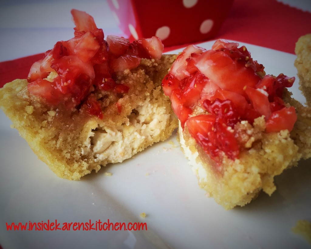 Whole Wheat Coconut Cheesecake Muffins with Strawberry Topping 2