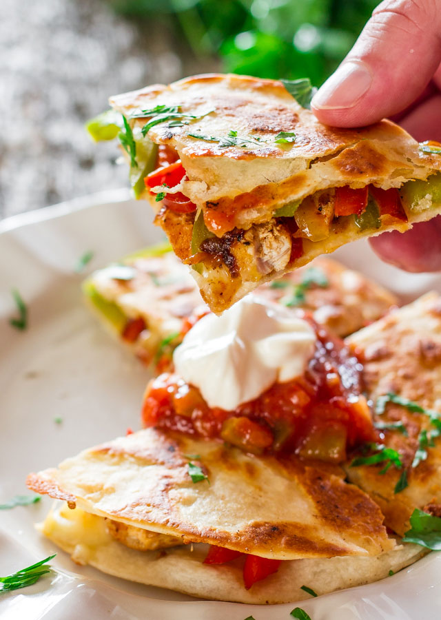 Chicken Fajita Quesadillas from Jo Cooks. These are pretty simple ...