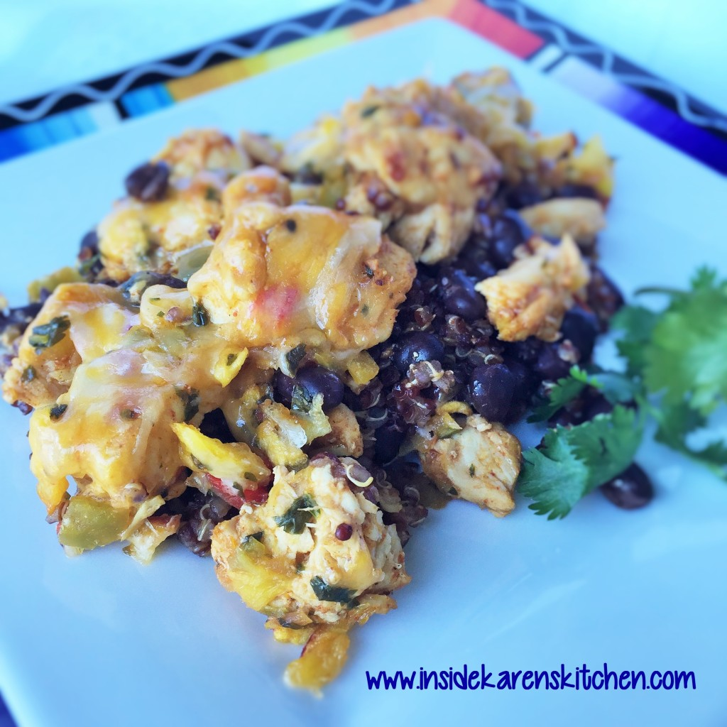 Chicken and Black Bean Quinoa Bake with Mango Peach Salsa