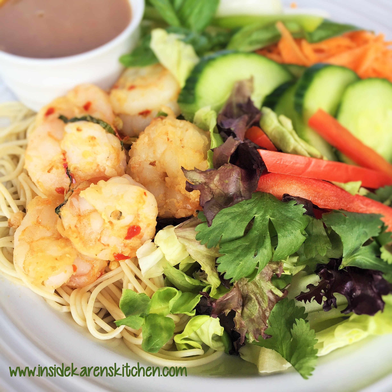 Grilled Shrimp Asian Salad with Thai Peanut Dressing Inside