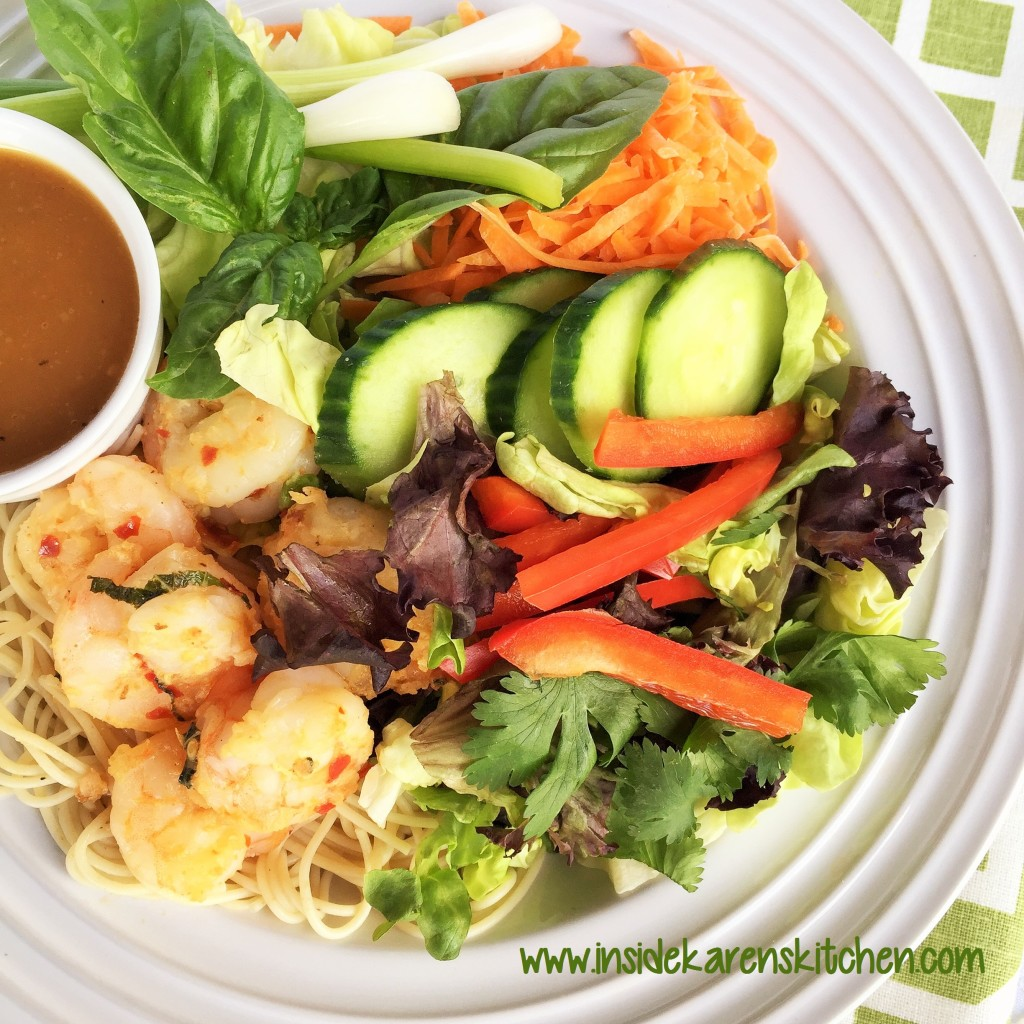Grilled Shrimp Salad with Thai Peanut Dressing