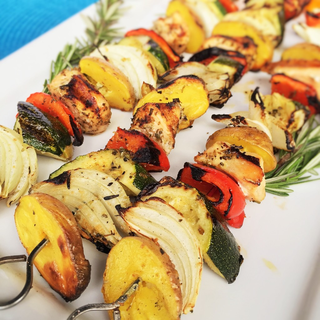 Herb Chicken, Vegetables and Idaho Baby Gold Potato Kabobs