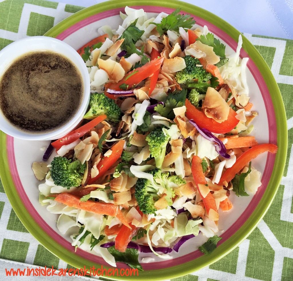Crunchy Coconut Asian Cole Slaw with Sesame Ginger Dressing