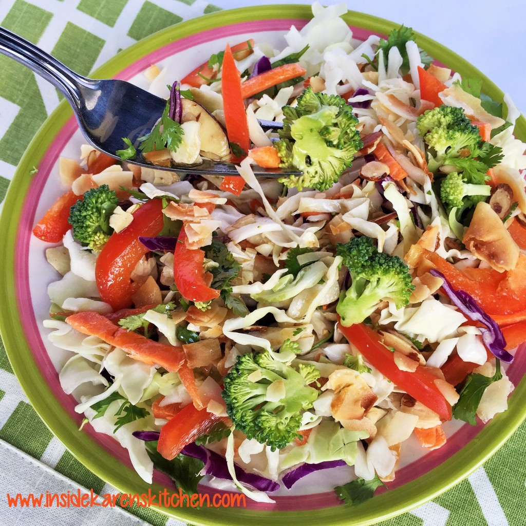 Crunchy Coconut Asian Salad with Sesame Ginger Dressing 2
