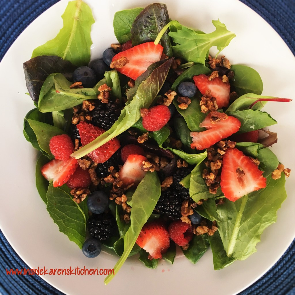 Berries and Nuts Spinach Salad with Poppyseed Dressing 1