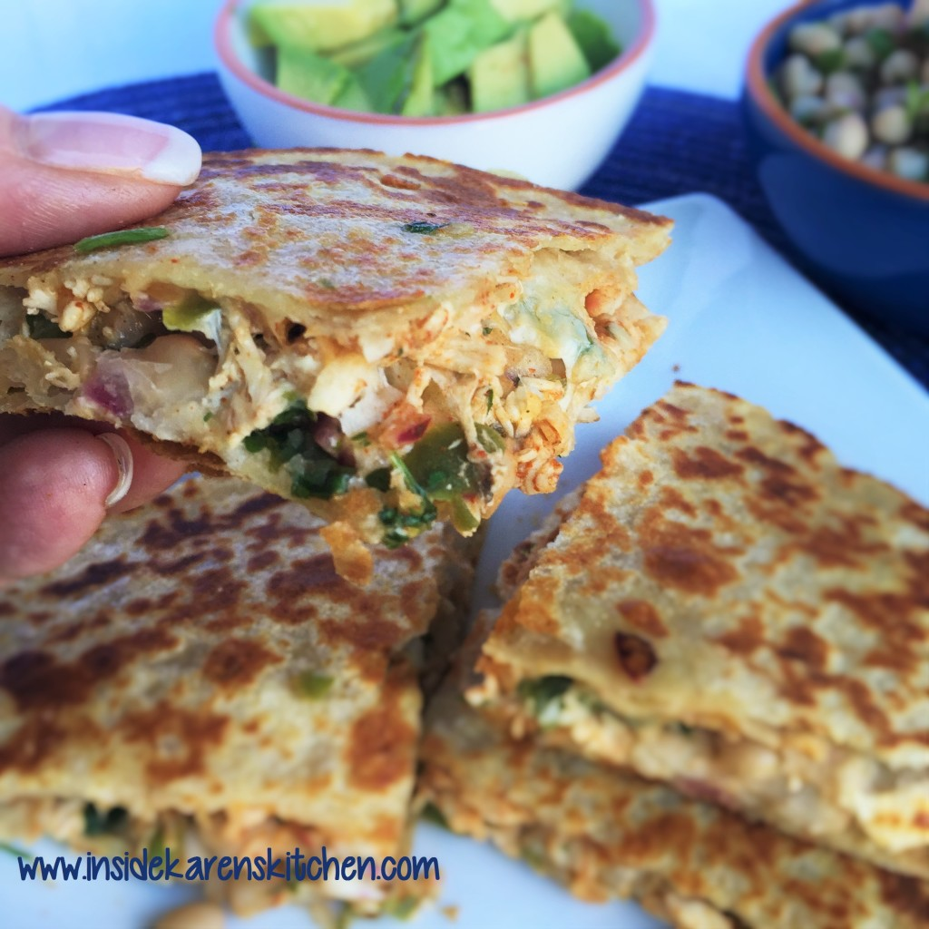 Taco Chicken Quesadillas with White Bean Salsa
