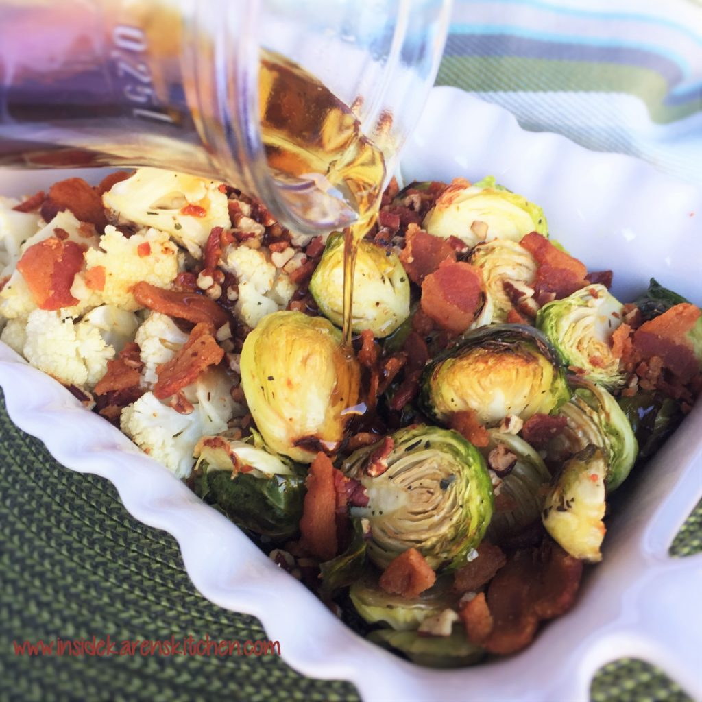 Roasted Brussels Sprout and Cauliflower with Toasted Pecans and Bacon